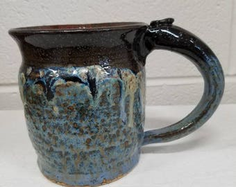 Large stoneware mug in red, black and blue