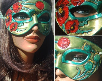 August Birthstone Peridot and Poppy Leather Mask - Limited Edition 1 of 10 Floral Flower Art Nouveau Mardi Gras Masquerade MADE TO ORDER
