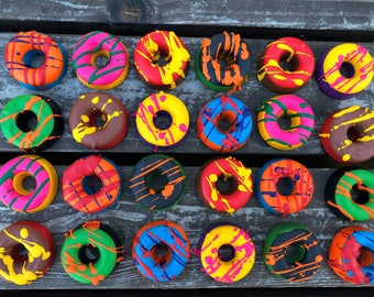 Donut Crayons Set Of 20 - Donut Party Favors - Donut Birthday Party - Gifts For Kids - Class Favors - Kids Gifts - Unique Gifts For Kids