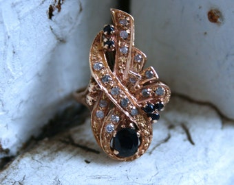 Vintage 14K Rose Gold Diamond and Sapphire Cluster Ring - 0.99ct.