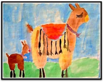 "Happy Llama Mama Baby Folk Art Happy Art Kids Art 8.5"" x 11"" Watercolor Paint on Paper Original whimsical Nursery ArtArt"