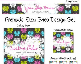 Damask Etsy Banner Set, Rustic Shop Cover Photo, Vintage Etsy Banner, Fabric Etsy Banner, Pink Shop Banner