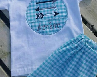 Boy arrow and blue gingham  outfit - gingham shorts - boys shorts - arrow outfit