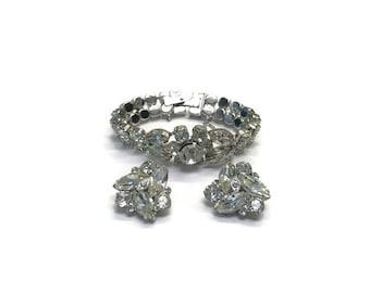 Signed Eisenberg Ice Jewelry Set, Vintage 1950s Rhinestone Bracelet and Earrings, Costume Jewelry, Demi Parure, Wedding Bridal Jewelry