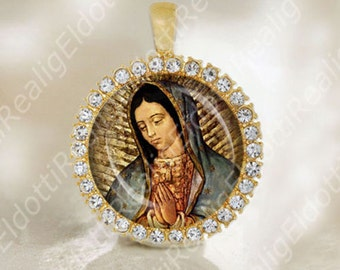 Virgin Mary Medal Our Lady of Guadalupe Catholic Religious Gold Tone Jewelry NEW. FREE Shipping