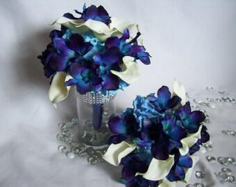 Amber's Bridesmaids Bouquet, White calla lilies,Medium Blue Hydrangeas,Blue Violet CA orchids