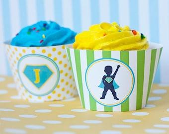 DIY Printable Cupcake Wrappers - Superhero Party - Customized