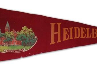 Genuine Vintage Original 1920s Felt Pennant for Heidelberg University (Ohio) -- Free Shipping!
