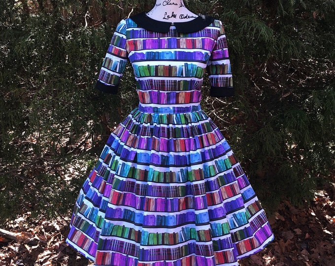 Alaina Dress with Collar in Rainbow Library Book Fabric