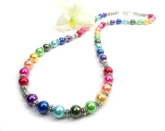 Pearl Rainbow Necklace, Bright Colorful LGBT Necklace, Multi Color Jewelry