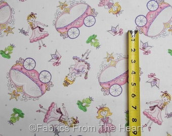 Ta-Da! Princess Frogs Carriage Silver Metallic White BY YARDS Henry Glass Fabric