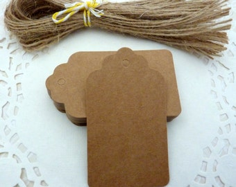 25 Brown Kraft Paper Scalloped Gift Tags Price Tag Crafts 4 x 7cm