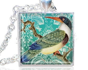 "LIQUIDATION SALE! Colorful Kingfisher Bird 1"" Square Glass Pendant or with Necklace"