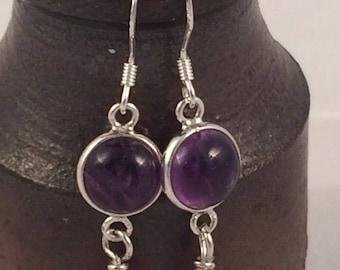 Amethyst and Sterling Silver Shepherd Hook Earrings February's Birthstone Valentines Gift Birthday Gift Womens Earrings Gemstone Earrings