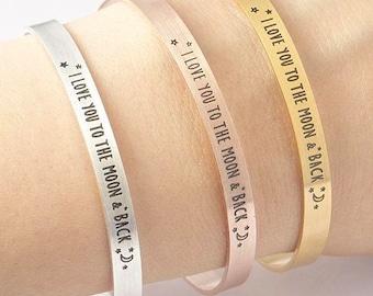I Love You To The Moon and Back- Stainless Steel Cuff Bracelet / Mantra Bracelet / Bangle Bracelet /Gold Silver Rose Gold Bracelet / Cuff