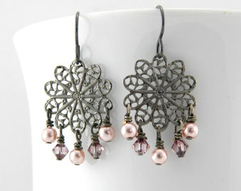 Gunmetal Filigree Dangle Earrings with Pink Accents on Niobium Ear Wires, Gray and Pink Earrings