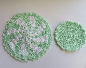 Miniature Crochet Rug- Green/ White Rug Set(2) New Swirl design (2 sided) Dollhouse Rug