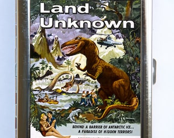 Land of the Unknown Cigarette Case Wallet Business Card Holder sci-fi b-movie Dinosaurs