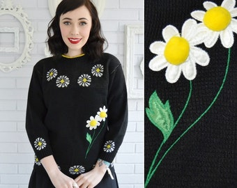 Vintage Daisy Sweater in Black with Floral Applique and Pom Poms by Picamo Size XS