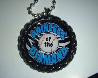 Softball Princess of Diamond Blue BOTTLE Cap Jewelry Necklace - *Free Chain*