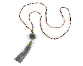 Necklace long gray tassel