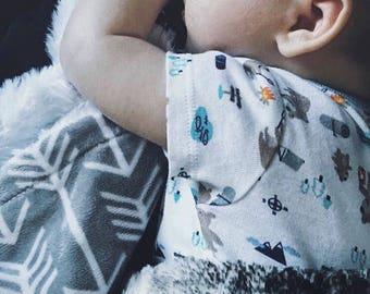 Security Blanket - Baby Lovie - Lovey Blanket - Minky Lovey - Arrow Baby Blanket - Baby Lovey Blanket - Grey Blanket - Baby Shower Gift