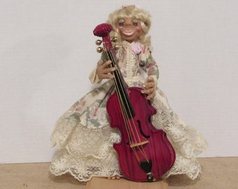 OOAK Art Doll, Girl With a Cello, Handmade by Susan Massey