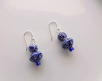 Blue and white porcelain earrings