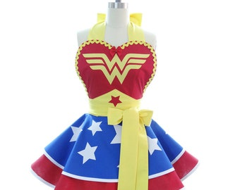Aprons for Women - Gift for Her - Wonder Woman Costume Apron - Womens Costume Apron - Hostess Gift - Cosplay Aprons - BambinoAmore