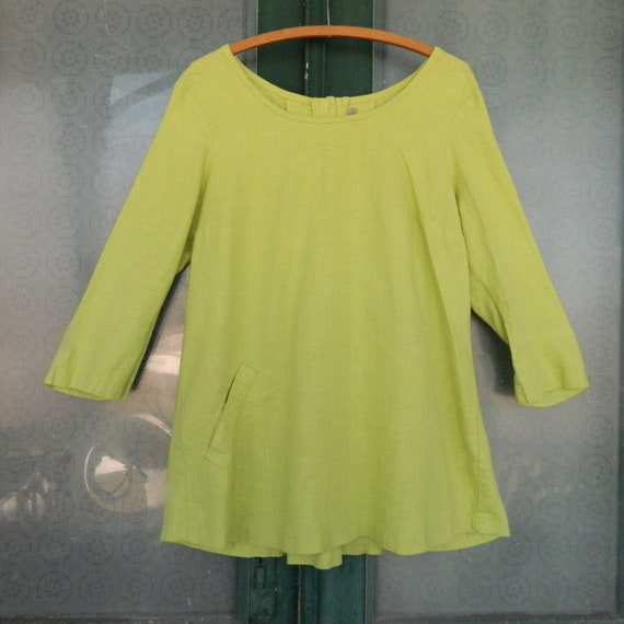 FLAX Engelheart 3/4 Sleeve Swing Tunic -S- Bright Green Linen