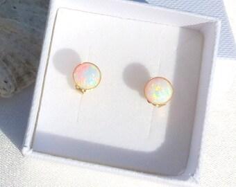 OPAL Stud Earrings, White Opal, Gemstone Earrings, Dainty Opal Earrings, Stud Earring, Goldfilled Stud Earrings, Classic Opal Studs, Gift.