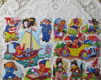 England Vintage Noddy Friends Toyland Lithographed Die Cut Paper Scraps Out Of Print  1434