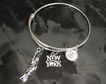 New York Statue of Liberty Adjustable Bangle Bracelet with Initial Charm.