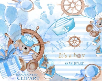 Baby Clipart  Baby Shower Clipart Sea  Marine Baby Boy Clipart  Watercolor Nursery Pastel Blue Toys Baby Announcement Teddy Bear