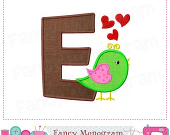 Valentine Bird Monogram E applique,Valentine's Day,E,Bird Letter E applique,E,Font E applique,Bird applique,Easter,Valentine's Day.-01