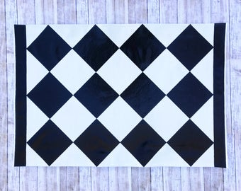 2'x 3' Black Diamond Pattern, Checkered Floor Cloth, Hand Painted Canvas Rug