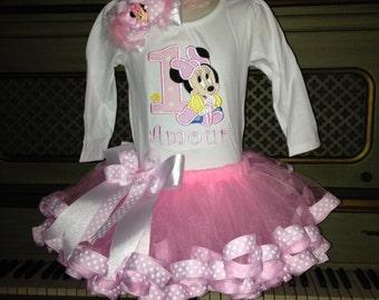 Light pink Baby  Minnie ribbon trimmed tutu