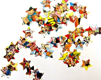 Comic table confetti.  200 childrens party embellishments. Bash Street Kids table scatters.  Recycled junk journal, planner, paper shapes.
