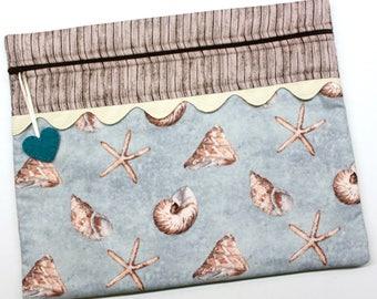 Sea Shells on Aqua Cross Stitch, Embroidery Project Bag