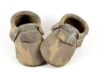 Baby Moccasins Suede Green Camo Moccs Genuine Leather Girls Boys Newborn Toddlers Kids Soft Soled Shoes Handmade Prewalker Booties Crib