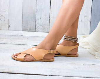 IOS handcrafted leather sandals, Greek leather sandals, x-strap sandals, flat sandals, summer shoes, Greek chic sandals