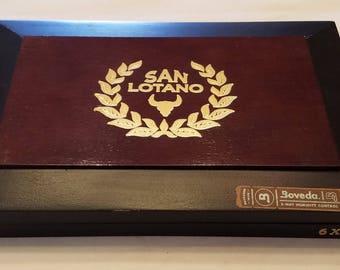 Wooden Cigar Box, San Lotano, Black and Brown, Gordo Box