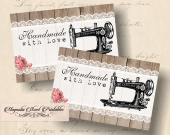 Sewing Machine Tags, Printable Handmade with Love Tags, Vintage Sewing Machine Tags, Favor Tags, Gift Tags, Instant Download Digital