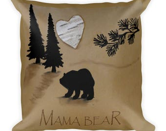 Rustic home decor pillow-2 sided pillow- mama bear pillow-bear pillow- throw pillow-rustic decorative pillow-rustic birch home decor- birch