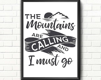 Travel quote digital print Travel art print Mountains are calling Travel printable art quote Mountain print art Adventure wall art print