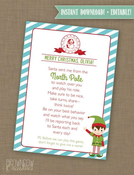 Editable Elf Letter Note from Elf Elf Printable Elf Card