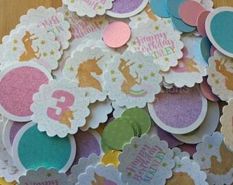 Unicorn Confetti, Gold Unicorn Birthday Confetti, Unicorn Party, Mini Circles, Photo Prop, Unicorn Baby Shower Confetti Rainbows and Unicorn