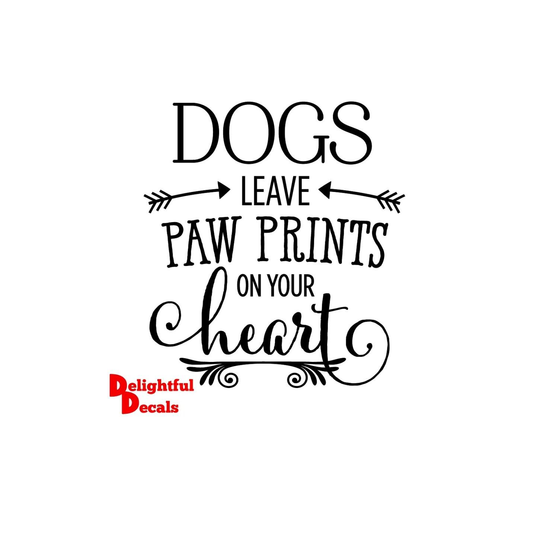Perros dejan impresiones de la pata corazón vinilo Sticker