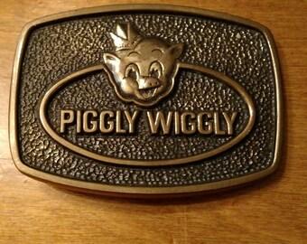 Vintage Piggly Wiggly Belt Buckle//Solid Brass Belt Buckle//Piggly Wiggly Grocery store vintage item//gift for him