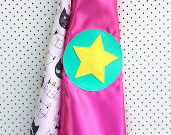 Kids Superhero Cape - Pink with Cats!